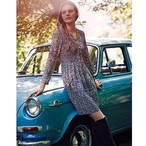 Anthropologie Maeve Smocked Tiled Amethyst Dress